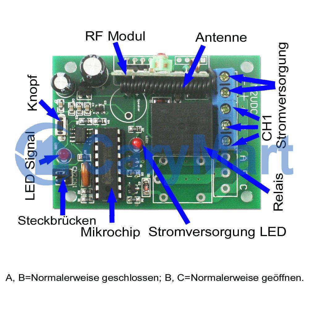 1-Kanal Funk Empfänger Schaltkreis für Elektrogeräte fernschalter ...
