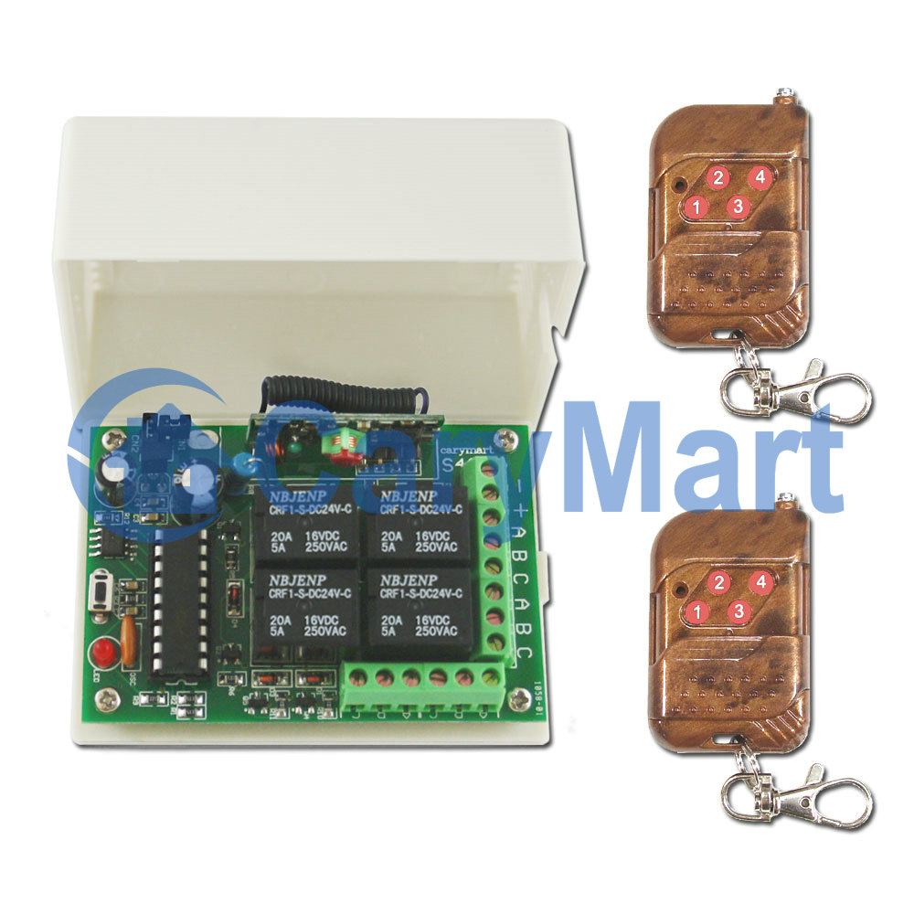 4 Relais 9V 12V 24V Funk-Sender- / Empfänger-Set mit Memory Funktion ...