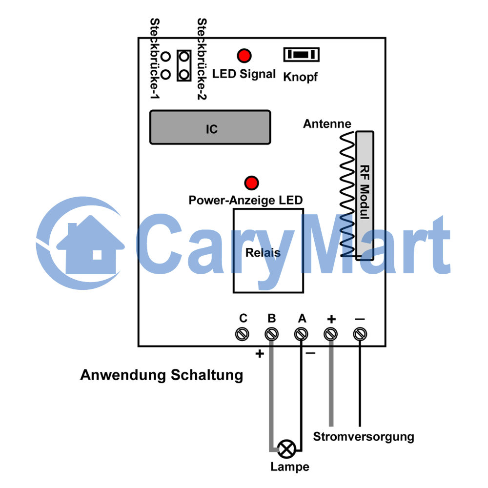1Kanal DC 6V 9V 12V 24V Funk Schalter / Handsender Garagentor Licht ...