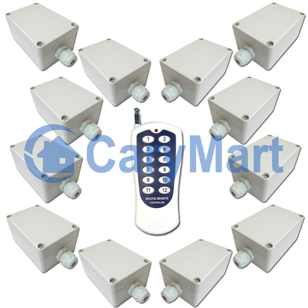 12-Kanal AC 220V Funkfernbedienung Set / Funk Schalter von Licht 10A ...