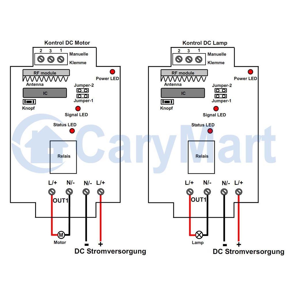RF Drahtlose Wand Schalter Fern Kontroller DC0 ~ 28V Elektronisches ...